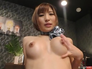 Busty Japanese maid Natsuki Minami pussy pounded hardcore at bottom the bed