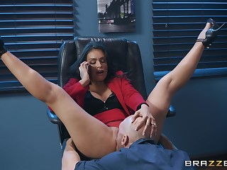 Secretary Katana Kombat stayed late to pay off her boss's load