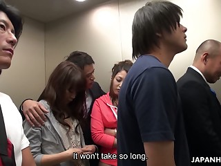 Crazy Japanese elevator group video featuring yummy naughty babe Aoi Miyama
