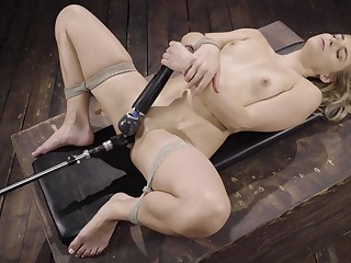 Nikki Peach destroys her pussy in be transferred to air two big sex toys for be transferred to best cum in any case