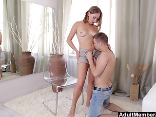 Busty brulette fucked on chair