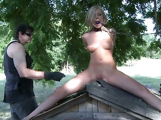 Two extraordinary lesbians are fucking each others insatiable twats outdoor