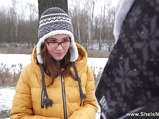 Russian ginger teen Gisha Forza gives her head and gets fucked on the first date
