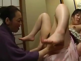 Japanese Teen Molested By Mature Lesbian in Kimono
