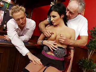 Busty MILF gets nimble with two men and fucks until exhaustion