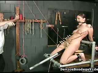 This dude hair's breadth his slave near in metal bondage and she is so behind