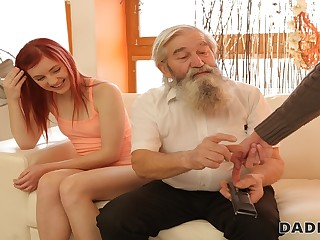 DADDY4K. Lovely redhead has irrational sex with old man