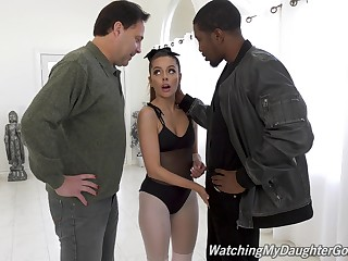 Hot black guy Isiah Maxwell fucks white chick Vanna Bardot all round front of her stepdad