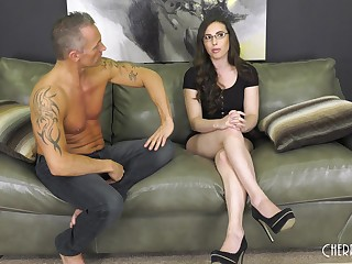 Provocative brunette Casey Calvert with glasses having sex with a stranger