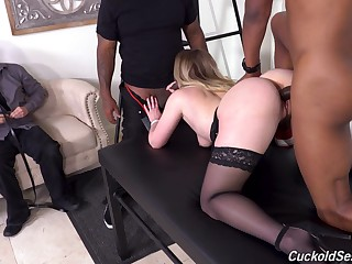 Slutty MILF with flushing face Kenzie Madison is hammered hard by black studs
