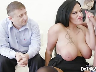 Wives enjoy taking hard dicks in frowardness and swell up it all-round fake of their husbands