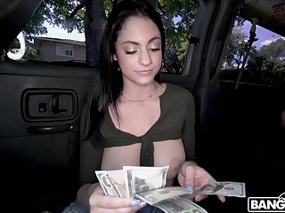 Busty honey counting money and having sex in a stranger's van