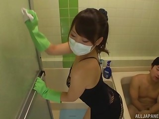 Shy Japanese girlfriend Kurata Mao fucked from behind in the bathroom
