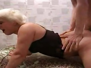 Blonde granny fucks here cowgirl and doggy style poses