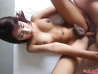 Sexy Thai ladyboy Nadea gets will not hear of anus fucked after blowjob session