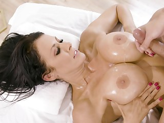 Passionate rub down leads on touching passionate fucking with Reagan Foxx