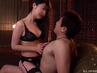 Japanese hottie Tsubomi gives head and gets fucked stranger behind