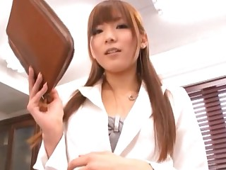 Pretty office babe Yuu Asakura teases in stockings and gets fucked