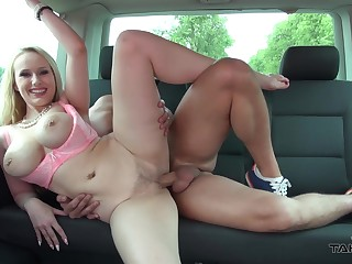 Super blonde MILF Angel boned good in the back seat of a car
