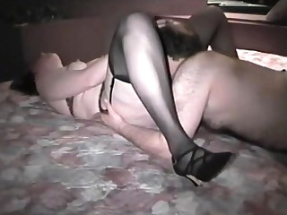Full-grown british lady in stockings jizzed by amateur