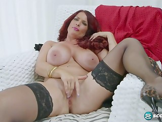 mature With respect to Stockings Shows The brush Amazing Titties
