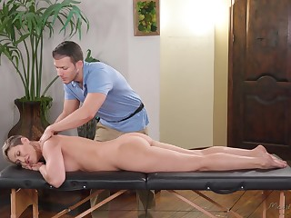 Handsome massage boy tries to impress bossy cougar Ryan Keely