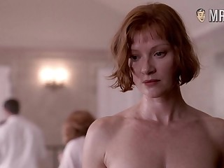 Smiling and sexy Gretchen Mol has succulent beamy boobs and fixed nipples