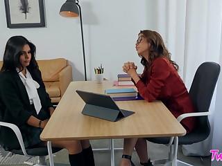 Estimable office hookup for hotties Alexis Fawx and Katya Rodriguez