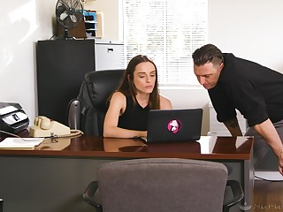 Erotic hot massage with raven haired Lily Glee is turned earn sideways fuck