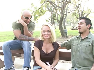 Chunky fake tits Tyann Mason rides different man while her hubby watches