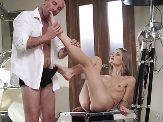 Skinny belle gets laid with the older bloke in a romantic XXX