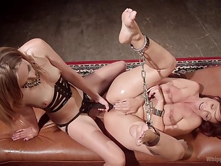 Dirty  BDSM pussy action be incumbent on yoke mettlesome lesbians