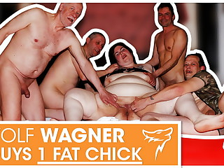Swinger orgy! Fat slut enjoys 3 hard cocks! WolfWagner.com