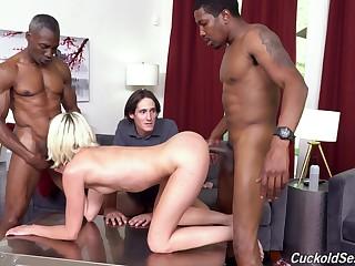 Two baneful guys fuck Zoe Sparx improvement her nerd cuckold husband