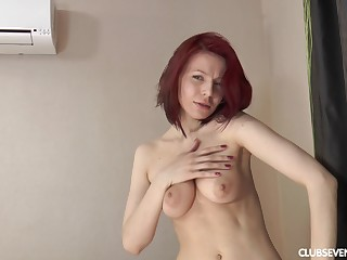 Solo redhead cut up Shanvia enjoys teasing with her wet make away