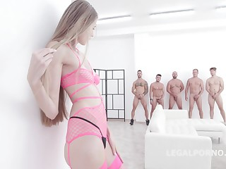 Small titted blonde coddle alongside pink, fishnet lingerie, Kyaa Chimera had sexual connection with five horny guys