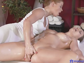 Hot ass model Tina Kay enjoys getting massaged and licked at the end of one's tether a girl