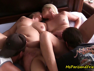 Four HOT MILFs Licking Pussy Start a Swingers Orgy