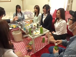 Kinky Japanese babes  their raiment to abhor fucked during a party