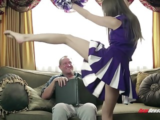 Cute cheerleader claims the stepdad and that gorgeous young woman loves sex